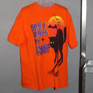 Halloween tee, orange, black cat, XL